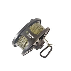 Cord: Comms Cord On Reel + Carabina. 30 Metres. New. Black / Olive.