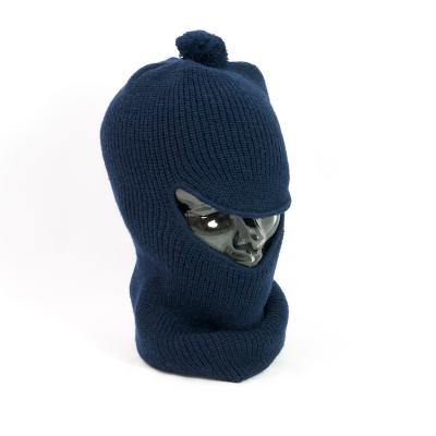 Open Face Vintage Balaclava With Bobble in Acrylic. Navy.