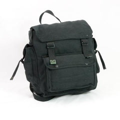 Cotton-Webbing Large 3-Pocket Backpack. New. Black.