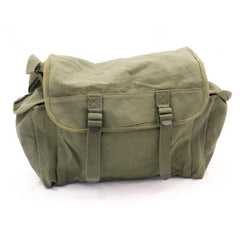Cotton-Canvas Large 2-Pocket Haversack. New. Olive Green.