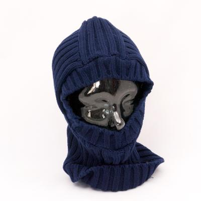 Open-Face Balaclava in Ribbed Acrylic. Navy.