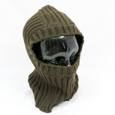 Open-Face Balaclava in Ribbed Acrylic. Olive.