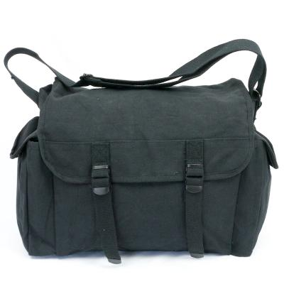Cotton-Canvas Large 2-Pocket Haversack. Black.