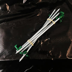 "Pegs: 9"" Rock Pegs x 6. Steel. New. Green Topper."