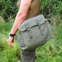 Cotton-Canvas Large 2-Pocket Haversack. Olive.
