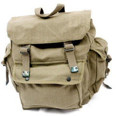 Cotton-Webbing Large 3-Pocket Backpack. New. Olive Green.