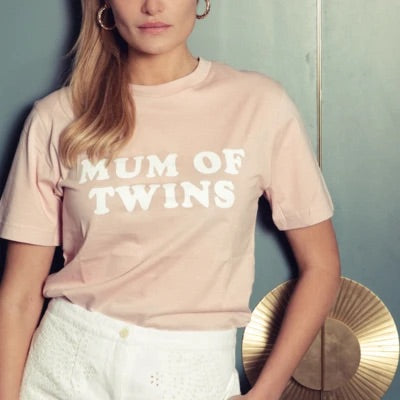 T-shirt MUM OF TWINS rose & blanc