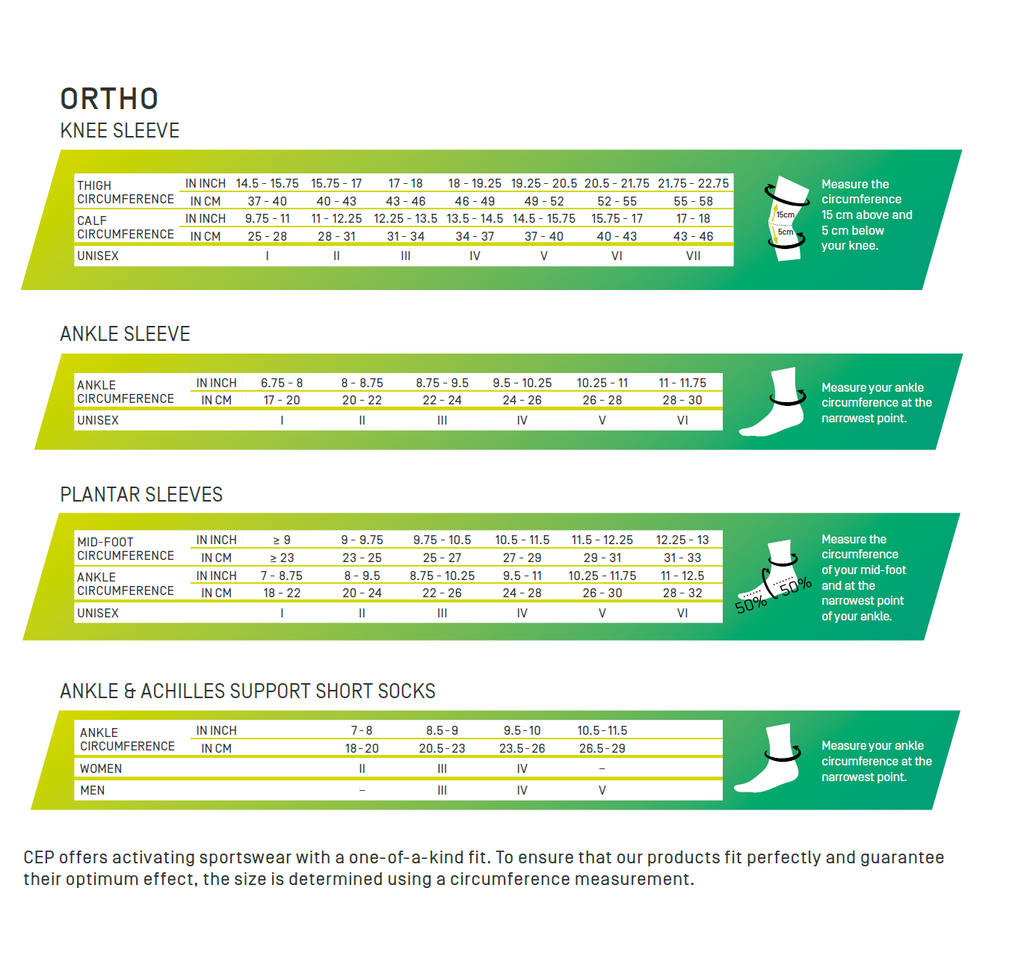 Ortho Sleeves Size Chart - CEP Compression