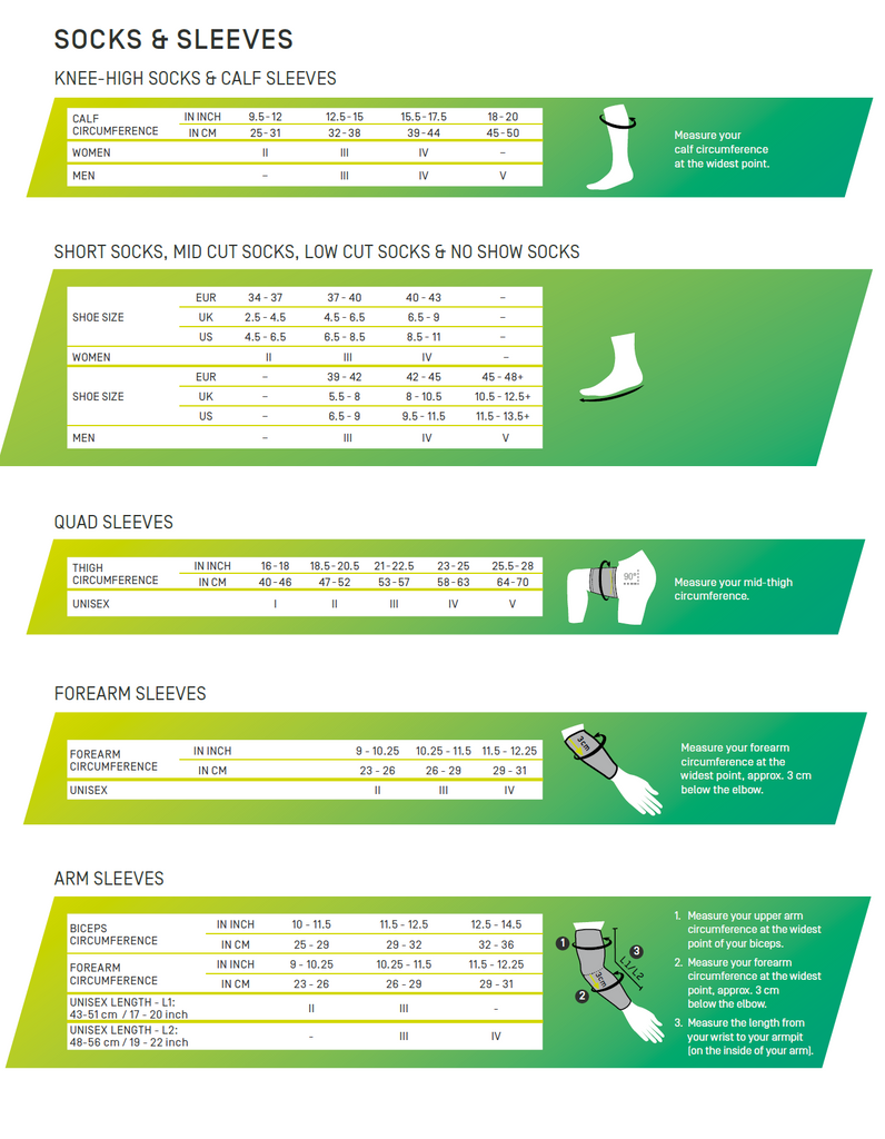 Socks and Sleeves Size Chart - CEP Compression