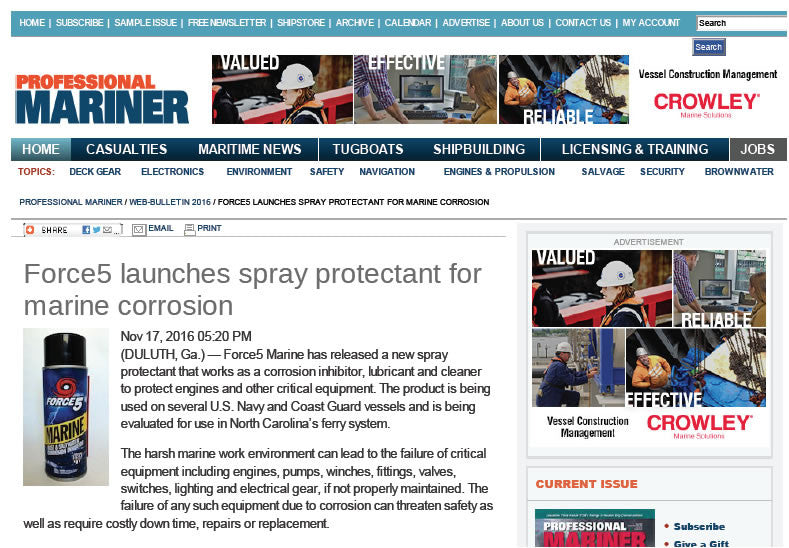 Force5 Launches Spray Protectant for Marine Corrosion.
