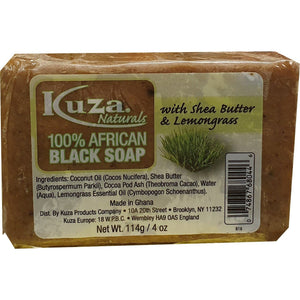 African Black Soap - Kuza Naturals Lemongras 100% African Black Soap 114g