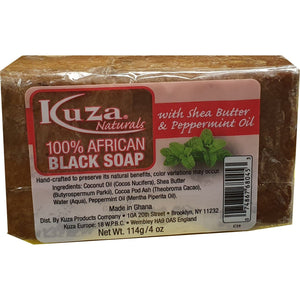 African Black Soap - Kuza Natural African Black Soap Shea Butter Peppermunt Oil 114 g