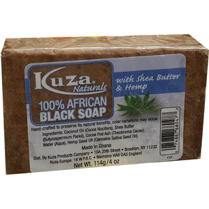 African Black Soap - Kuza Naturals African Soap Black Soap Shea Butter and Hemp 114 g.png