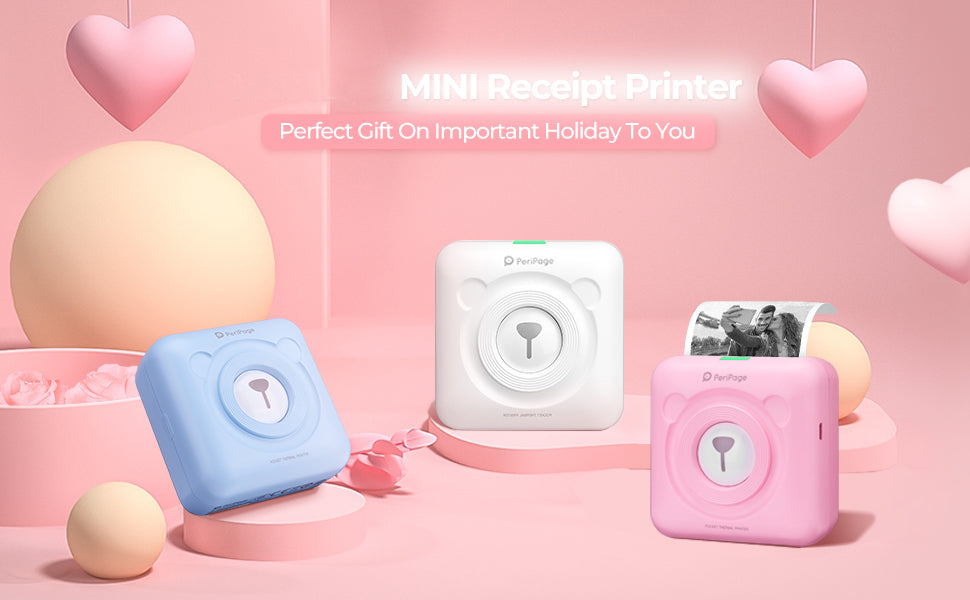 Mini Pocket Printer Peripage Printer, Photo Printer for Mobile Phone, Receipt Thermal Printer Compatible with Android iOS Smartphone Windows