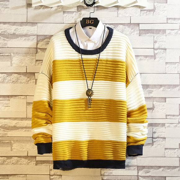 Men'S Striped Sweaters Spring Autumn Winter Clothes 2021 Pull OverSize M-4XL 5XL Korea Style Casual Standard Pullovers