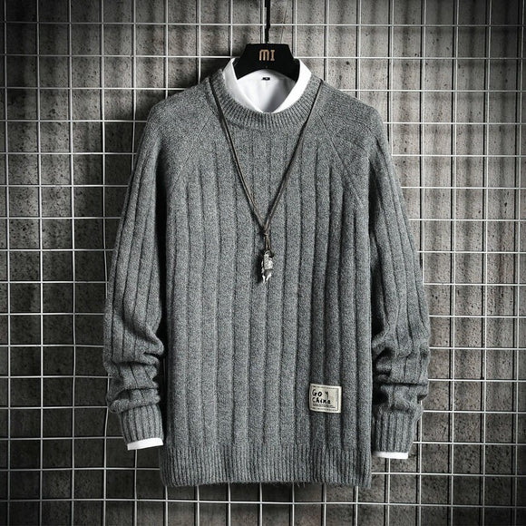 Men'S Black White Sweaters Spring Autumn Winter Clothes 2020 Pull OverSize Korea Style Casual Standard Pullovers