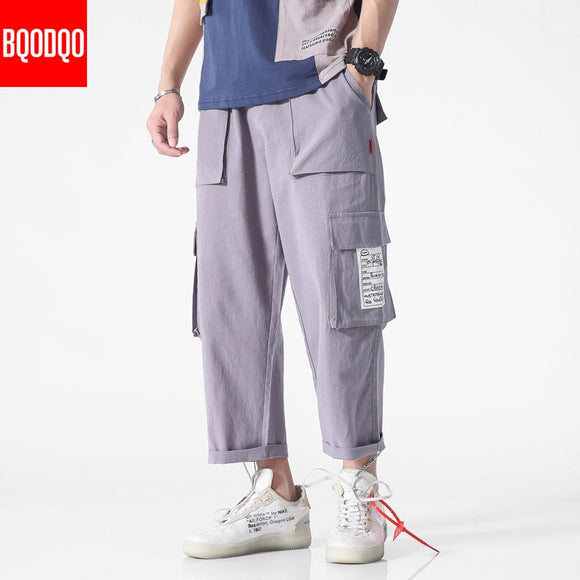 Summer Fitness Casual Pant Men Hip hop Side Pocket Japanese Streetwear Straight Trousers Mens Fashion Cotton Joggers Harem Pants