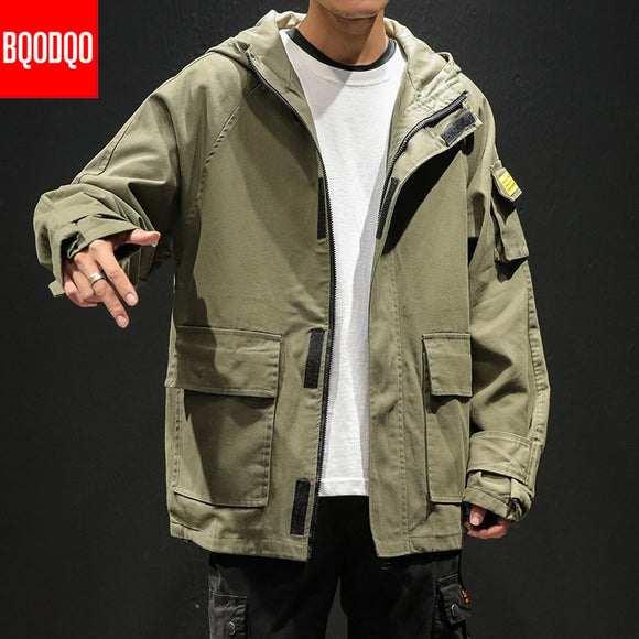 Black Fashion Baggy Casual Bomber Jacket For Men Army Green Autumn Military Japan Style Coat 5XL Mens Cotton Streetwear Jackets