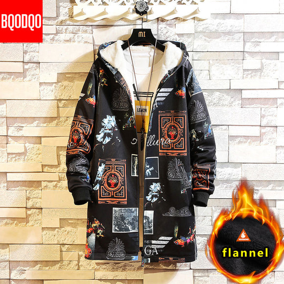 Fleece Jacket Winter Parkas Men 5XL Print Military Japanese Hooded Long Trench Coat Black Hip Hop Streetwear Thick Men's Jackets