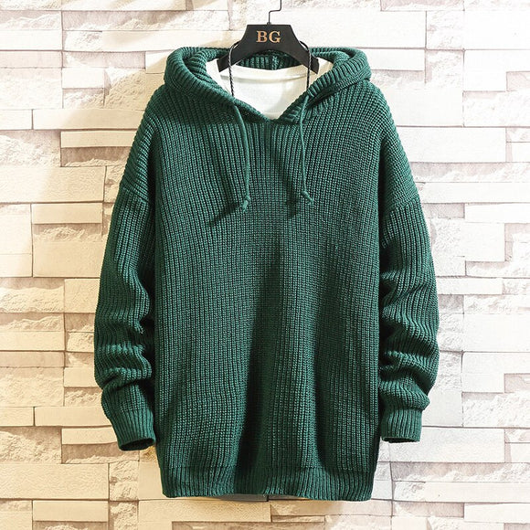 Black Men'S Sweaters With Hat Spring Autumn Winter Clothes 2021 Pull OverSize 4XL 5XL Korea Style Casual Standard Pullovers