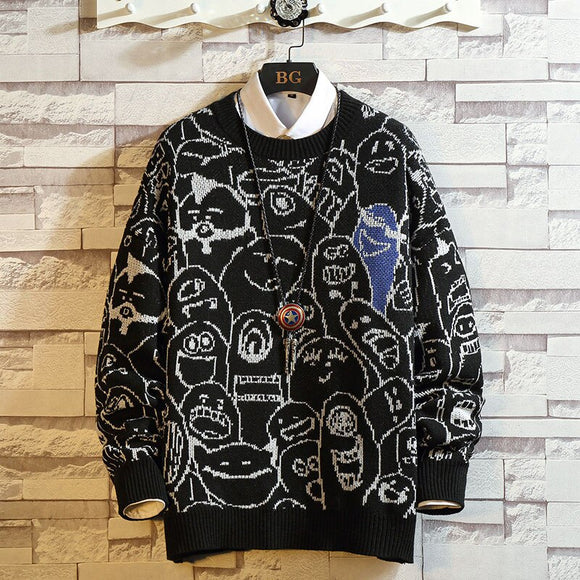 Men'S Sweaters Spring Autumn Winter Clothes 2020 Black Print Pull OverSize Turtleneck Korea Style Casual Standard Pullovers