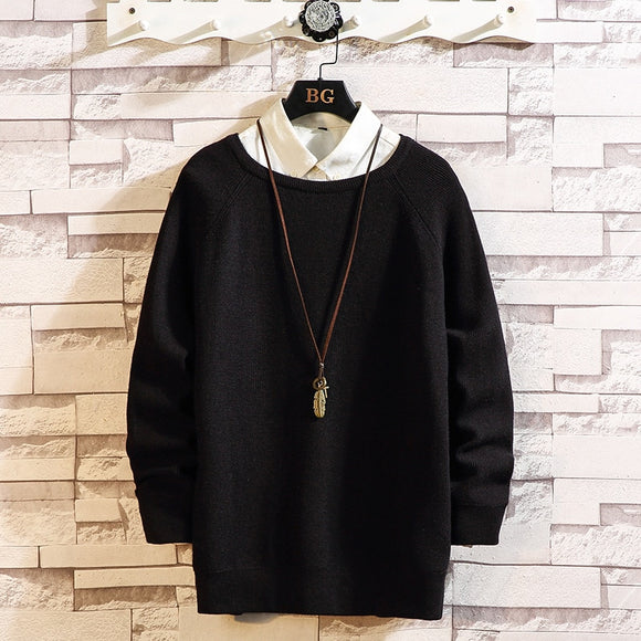 Black Christmas Knitted Long Sleeves Men'S Sweaters Winter Clothes 2020 Japanese Style Casual Designer Oversize Pullovers