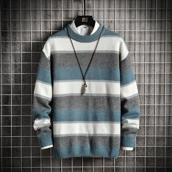 Men'S Striped Sweaters Spring Autumn Winter Clothes 2020  OverSize M-4XL 5XL Korea Style Casual Standard Pullovers