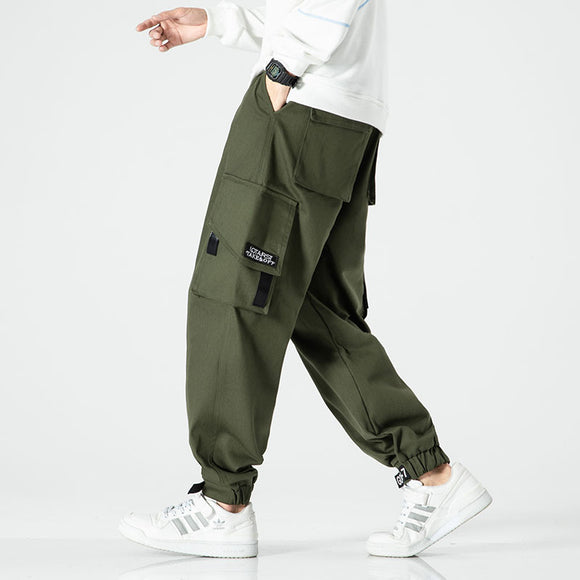 Men's Cargo Pants Joggers Comfortable Casual Army Green Pants for Men Streetwear Loose Man Trouser Trendy Tie Feet Pants Fashion