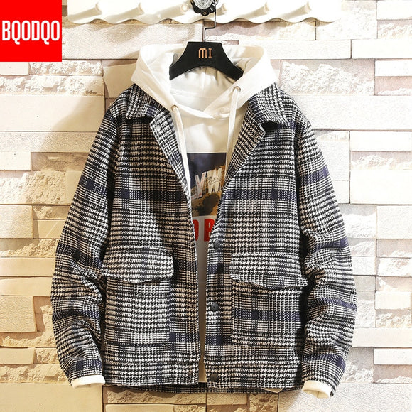 Plaid Turn-down Collar Casual Jacket Men Fashion Autumn Streetwear Loose Jackets Japan Preppy Style Casual Men's Coat Plus Size