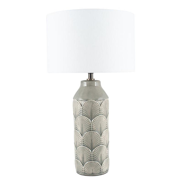 Embossed Grey Ceramic Table Lamp