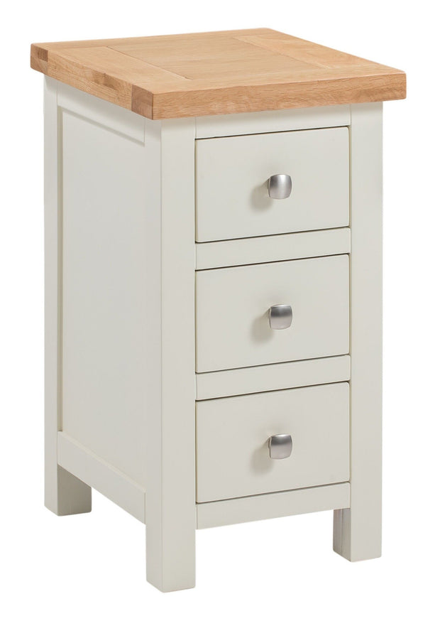 Derwent Painted White Narrow Bedside Table with 3 Drawers