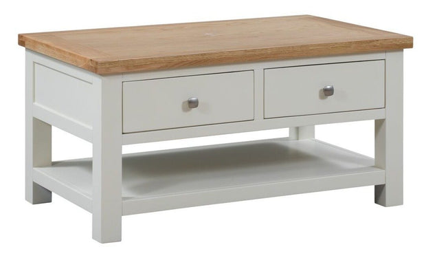Derwent Painted White Coffee Table With 2 Drawers