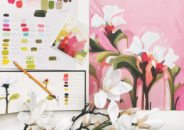 Pink sketches from the 'In Bloom' collection of floral paintings by Canadian abstract artist Susannah Bee