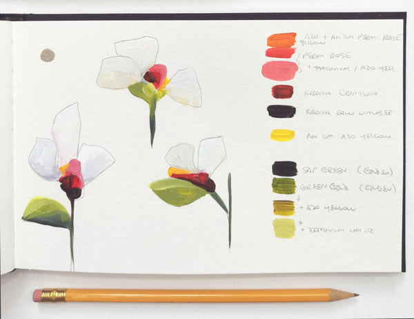 Sketchbook image of flowers from the 'In Bloom' collection by Canadian abstract artist Susannah Bee