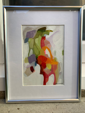 Susannah Bee abstract original painting framed with mat