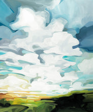 Load image into Gallery viewer, 'Day Trippin' a Limited Edition vertical fine art print by Canadian artist Susannah Bee. Bright yellow sunrise in the distance tempts the viewer to venture across green fields to reach a place of calm and warmth. Bright white fluffy clouds float across a brilliant blue and turquoise sky.