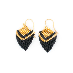 Gold & Black Leaf Earrings