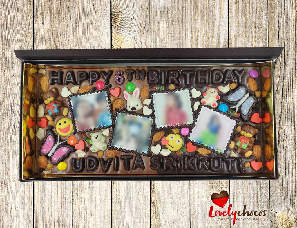 Best 6th Birthday personalized photo chocolate for girl.