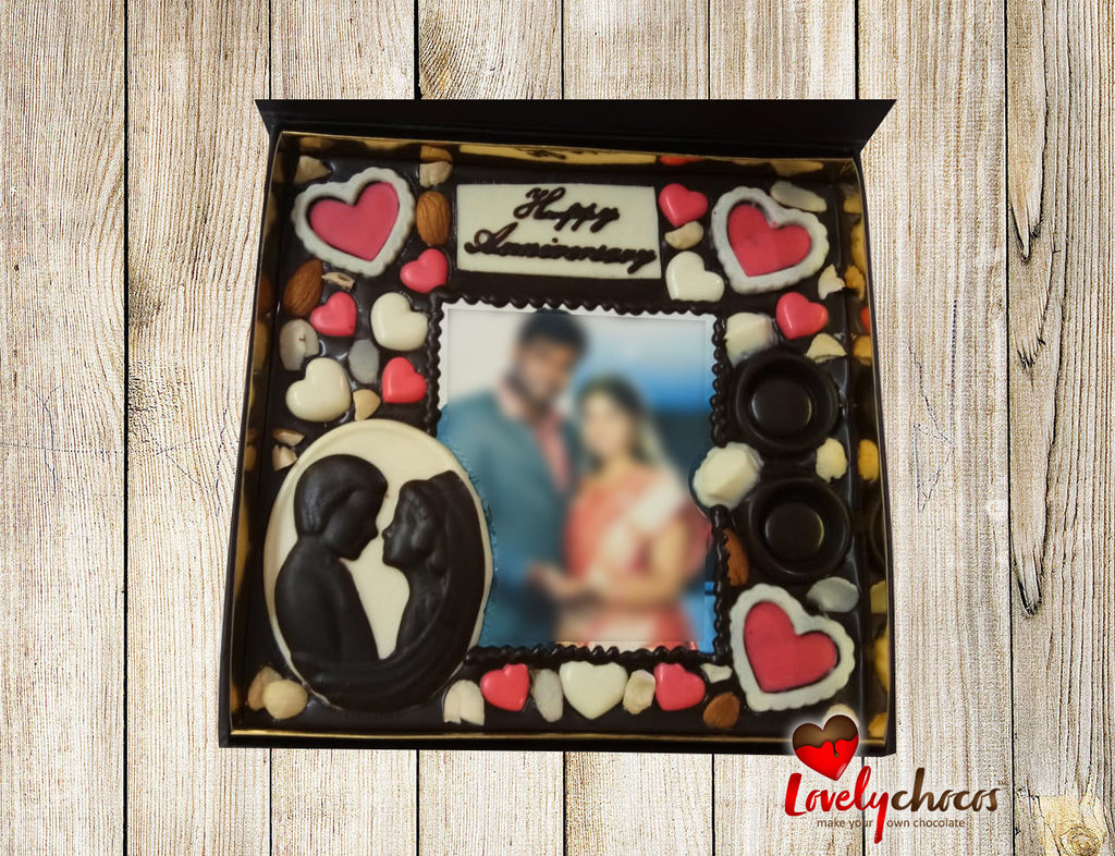 Happy anniversary customized chocolate for couple.