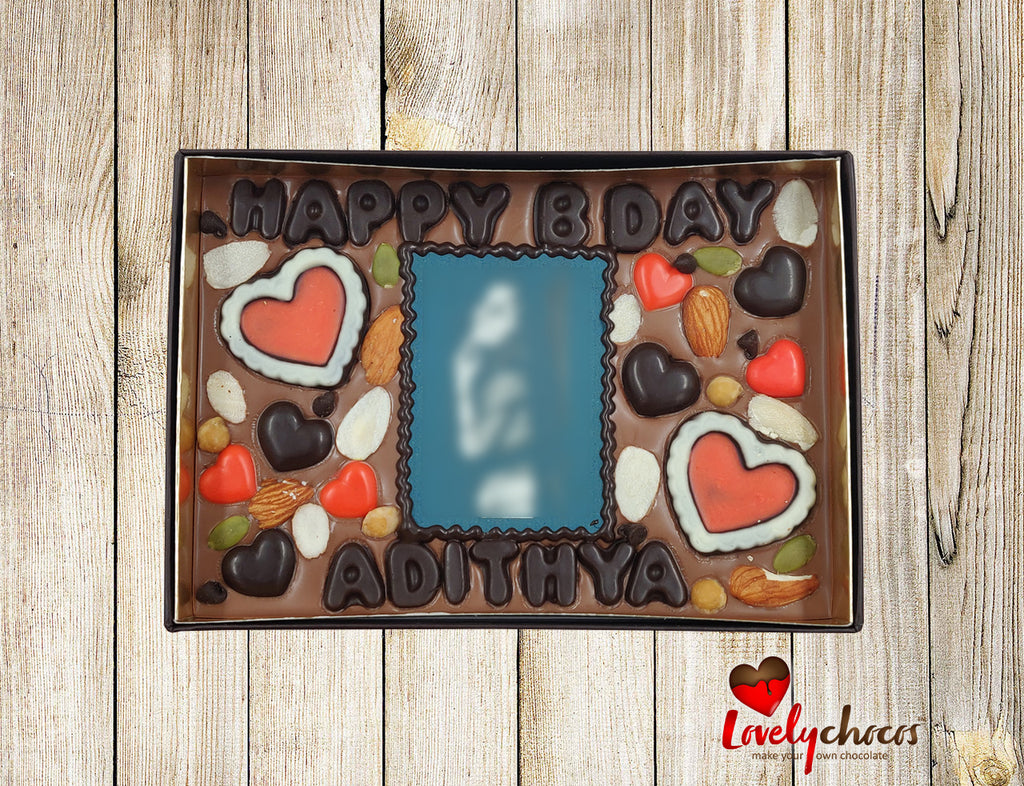 Happy birthday chocolate for couple.