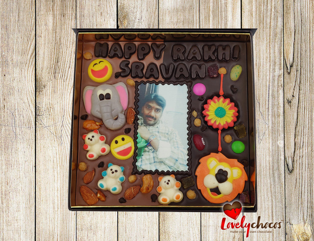 Personalized Raksha Bandhan chocolate for brother with assorted animal characters.