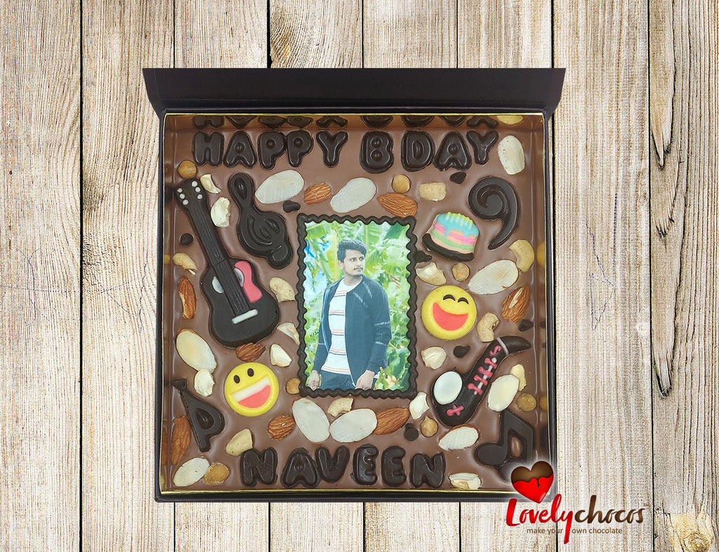 Personalized photo chocolate for a friend.