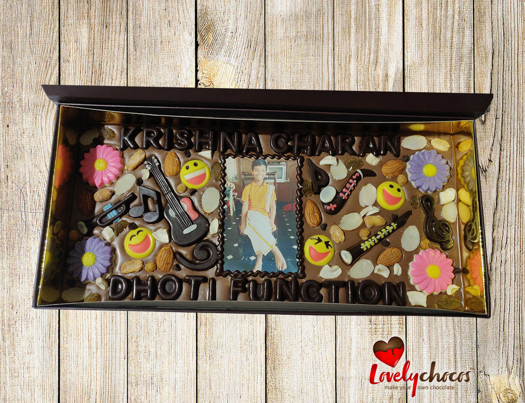 Customized photo chocolate for dhoti event.