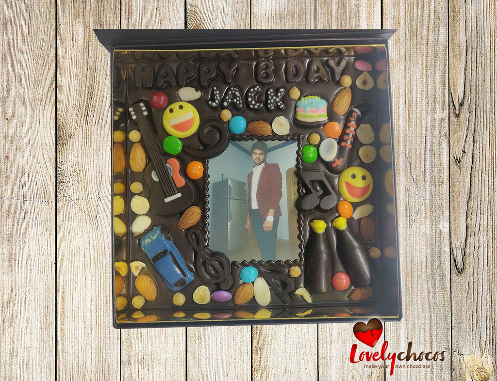 Birthday personalized chocolate gift for a boy.