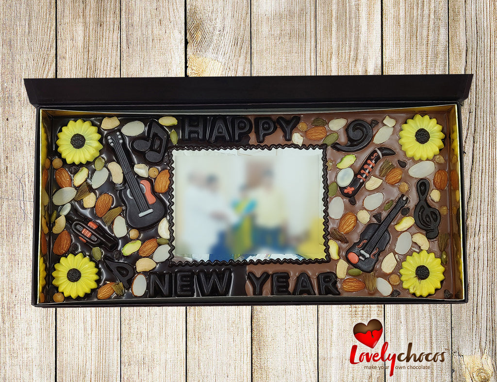 Happy new year customized photo chocolate.
