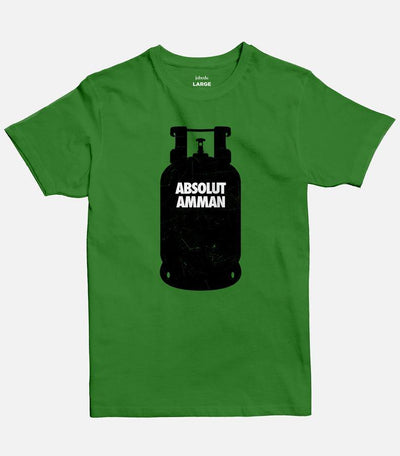 Men Medium green T-shirt with a design of a black Gas cylinder  with the words Absolut Amman written on it.