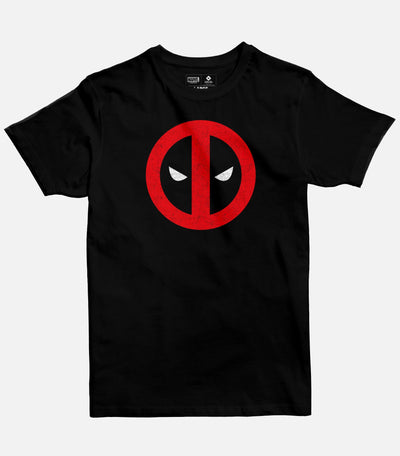 Men Black Graphic T-shirt featuring a Marvel licensed design of the Deadpool logo.