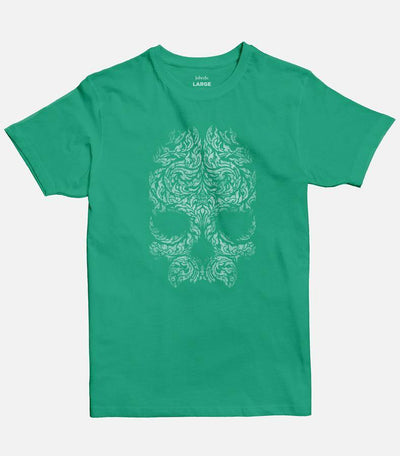 Men Mint Green graphic T-shirt  with a skull design printed on the front.