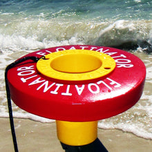 "FACTORY 2ND's as is ""Red Vinyl"" Floatinator with Yellow CUP - The Original Floatinator Floating Cup Holder"