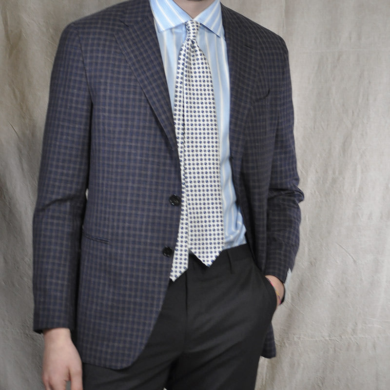 Caruso Men's Jacket Loro Piana Wool Checked